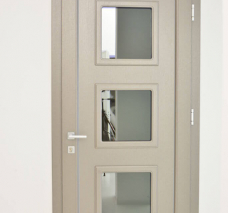 pvc front doors with one or two glass sashes